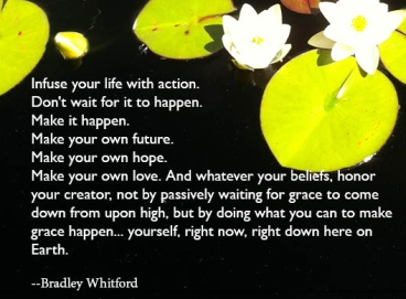 Infuse your life with action. Don't wait for it to happen. Make it happen. Make your own future. Make your own hope. Make your own love. And whatever your beliefs, honor your creator, not by passively waiting for grace to come down from upon high, but by doing what you can to make grace happen... yourself, right now, right down here on Earth. -Bradley Whitford