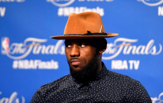 Jun 16, 2015; Cleveland, OH, USA; Cleveland Cavaliers forward LeBron James (23) talks to the media after game six of the NBA Finals against the Golden State Warriors at Quicken Loans Arena. Mandatory Credit: Ken Blaze-USA TODAY Sports